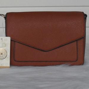 Handbags - Brown Vegan Leather Shoulder Handbag